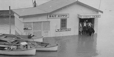 Nambucca boat hire business in Wellington Drive during big flood Date of photograph: 1954