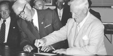 Health Minister Sir Earle Page at opening of third Post office Date of photograph: 1958