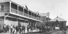 Bullocks drag a house past the Star Hotel in River St, Macksville Date of photograph: Perhaps 1905 - 1910
