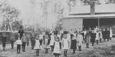 Stuarts Point school children stand to attention for official photo Date of photograph: 1900
