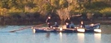 Surfboat crew during dawn training row  © 2003 Photo by Nambucca Graphics